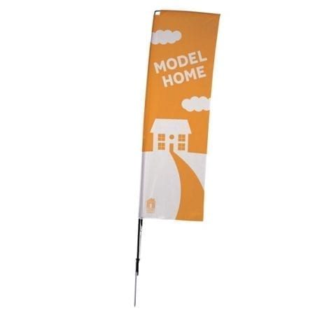 10' 1-Sided Rectangle Flying Outdoor Banner w/ Spike Base