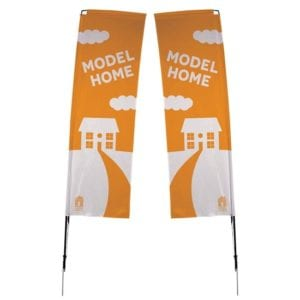 10' 2-Sided Rectangle Flying Outdoor Banner w/ Spike Base