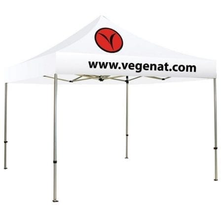 10ft Solid Color/Logo Canopy Tent - White 2 Logos