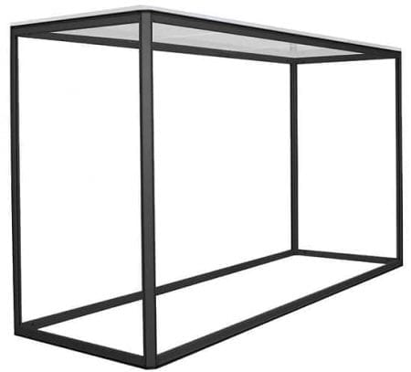 Side view of black rectangular counter frame