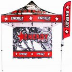 The Best Seller Carbon Fiber Banner shown with optional mount for Trade Show Canopy Tent.