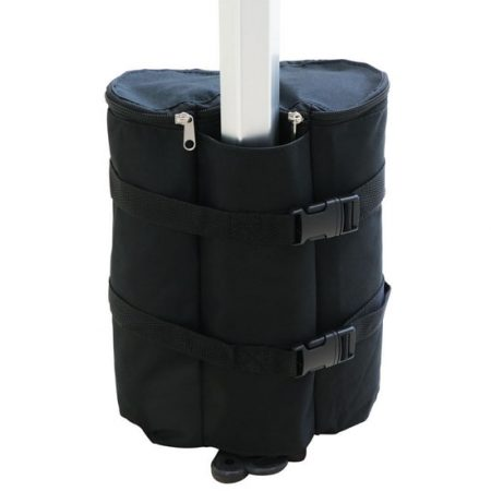 Sand bag cover that straps to leg of Trade Show Canopy Tent