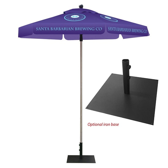 Hexagonal Full Color Print Umbrella with Iron Base