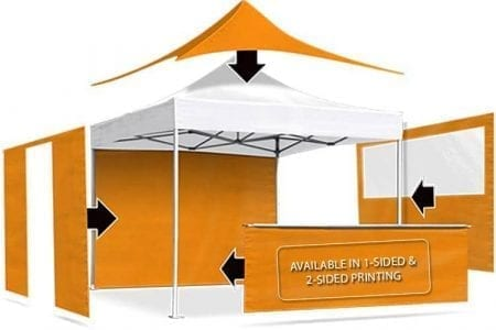 Premium Canopy Tent exploded view with wall and railskirt options