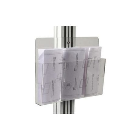 Clear brochure holder on pole