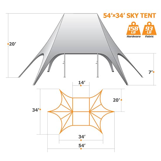 54ft x 34ft Star Tent