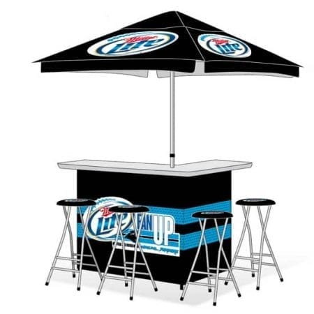 Portable Custom Branded Canopy Bar w/ Umbrella and Stools