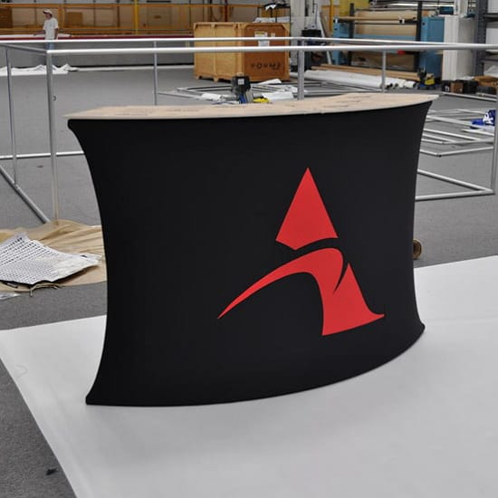 Custom Tension Fabric Exhibit Crescent Podium