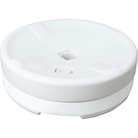 White hollow plastic base with hole in top