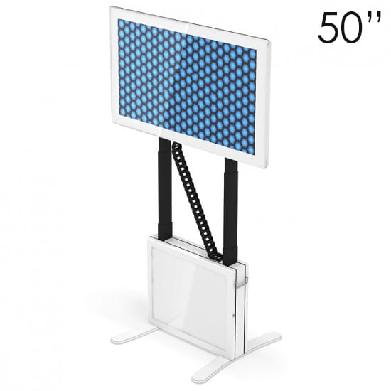The 50″ Touchscreen Table is height adjustable.