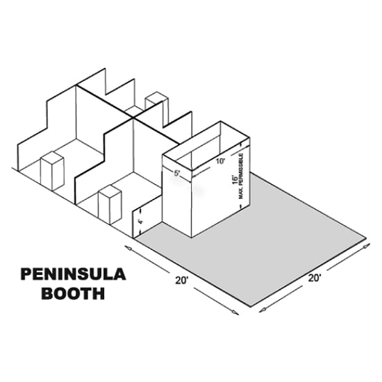 20' x 20' Peninsula Trade Show Booths