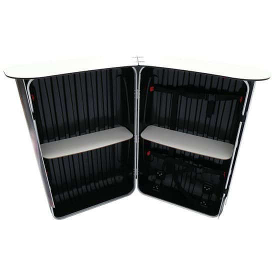 The Podium Counter Case features 2 white internal shelves that have a 20 lb. weight capacity.