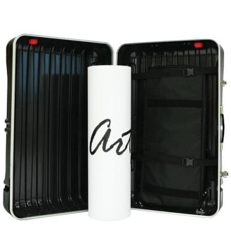Black Podium Case open with roll of printed graphic in the center.