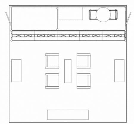 20X20 RENTAL BOOTH TURNKEY LL23 FLOORPLAN