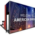 20×20 Turnkey Rental Booth LL23 back graphic