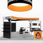 20×20 Turnkey Rental Booth LL71 hanging sign 2