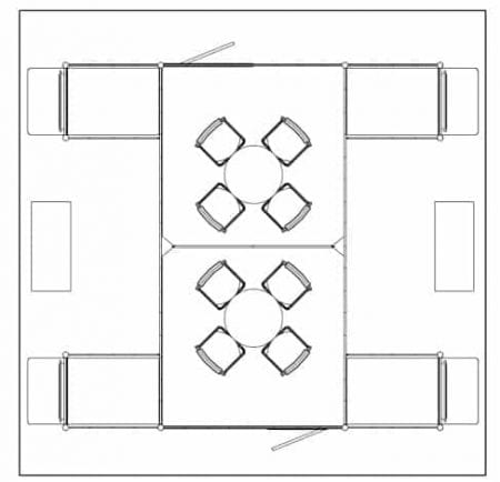 20x20 turnkey rental booth ll43 floor plan