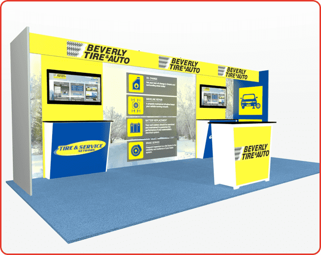 10x20 turnkey rental booth ml73-3 graphic package c