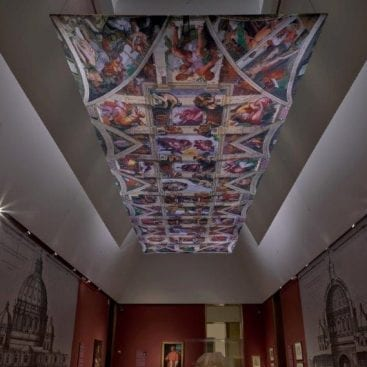 The 36 feet by 42 ft custom hanging banner on display at the Houston Museum of Fine Arts.