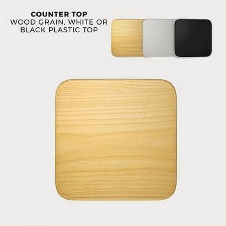 Countertop options are black, white and a faux light wood grain color