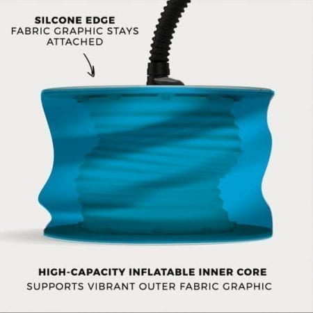 The Silicone Edge Graphic stays attached while being inflated. The high-capacity inflatable inner core supports the outer graphic.