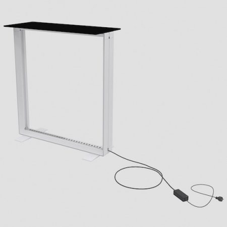 Frame of pixlip counter with electric cord and black countertop