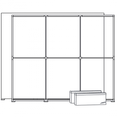Frame of the 10 ft display with two carry bags.