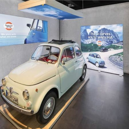 "78"" Backlit Display in aVolkswagen showroom."