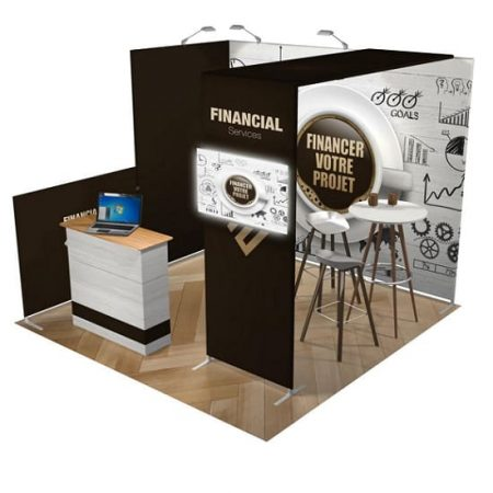 10x10 TENSION FABRIC BOOTH Financial from the floor