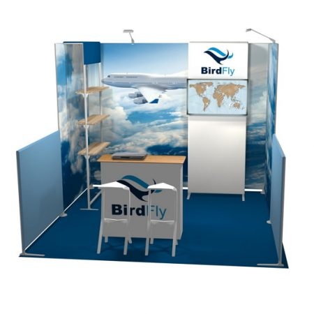 BirdFly 10'x10' Tension Fabric Booth Floor View
