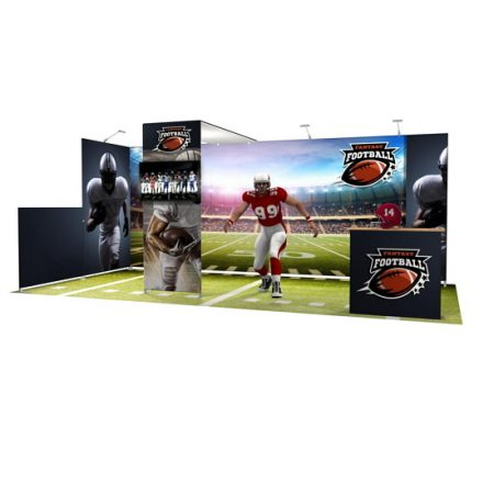 10'x20' Tension Fabric Booth Football with canopy arch.